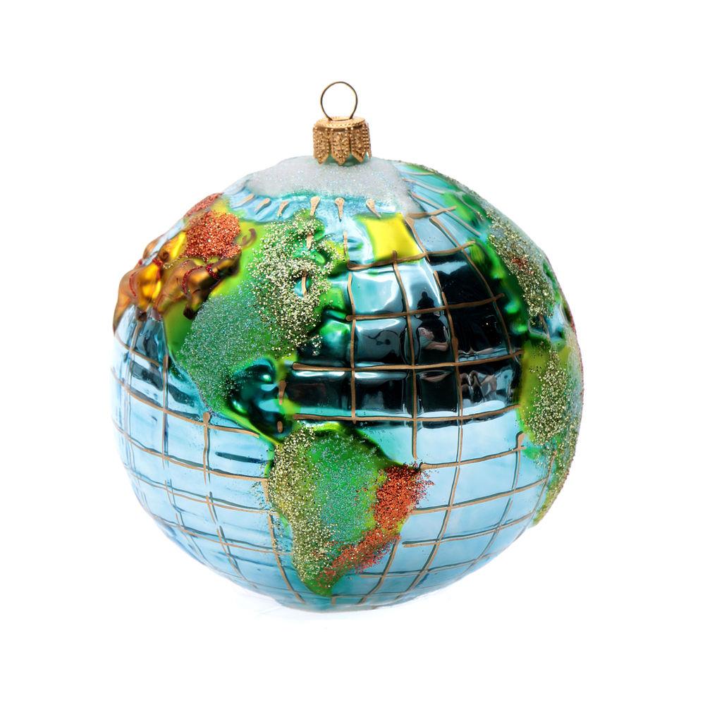 Blown glass Christmas ornament, Santa Claus around the world ...