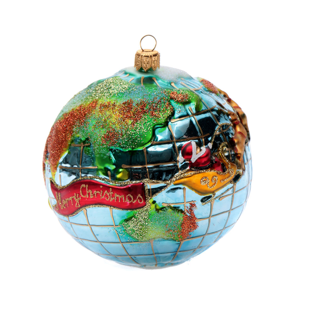 Blown glass Christmas ornament, Santa Claus around the world ...
