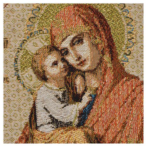 Arazzo Madonna con bambino fondo bianco 32x23 cm 2