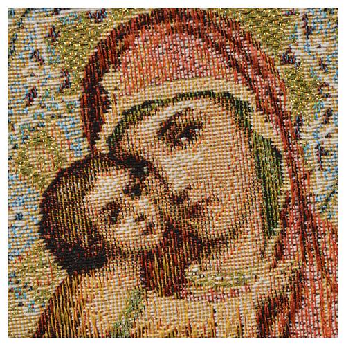 Arazzo Madonna con bambino fondo arancio 32x23 cm 2