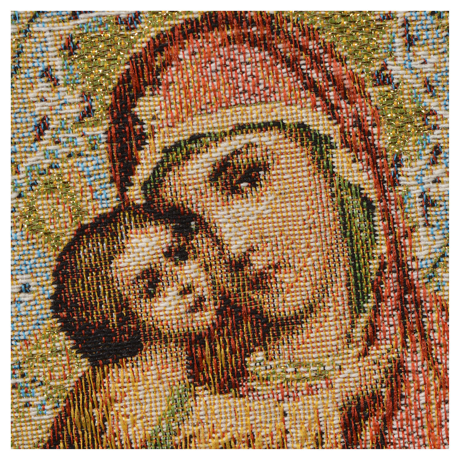 Tapestry Our Lady and baby, orange background 32x23cm 3