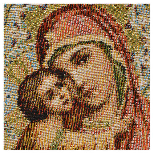 Tapestry Our Lady and baby, orange background 32x23cm 2