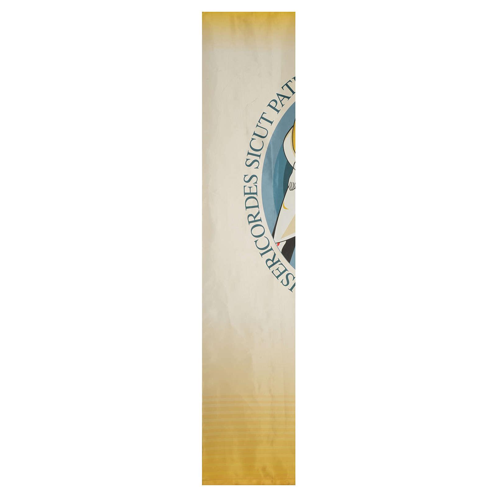 STOCK Druck des Logos zum Jubiläum der Barmherzigkeit auf Stoff 135x300 cm LATEIN 3