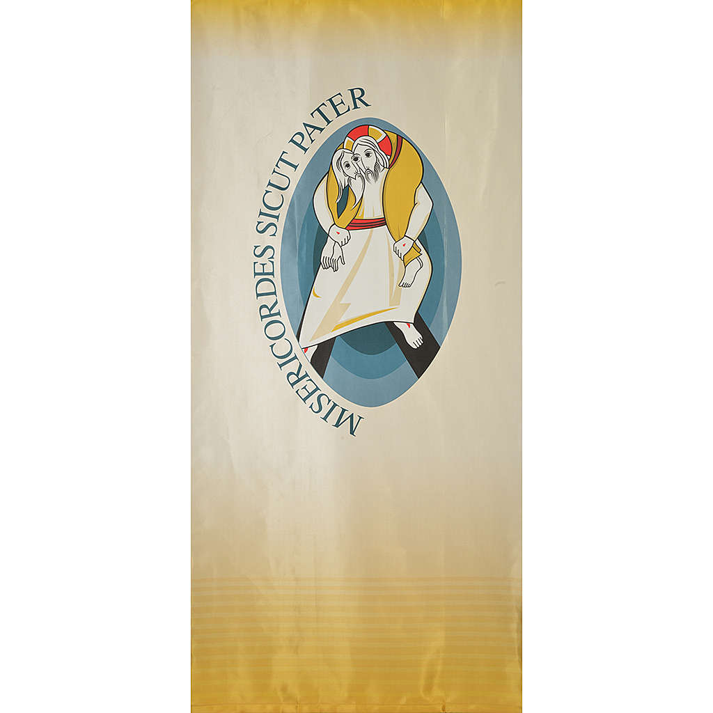 STOCK Logo Jubilee of Mercy LATIN printed on fabric 135x300cm 3