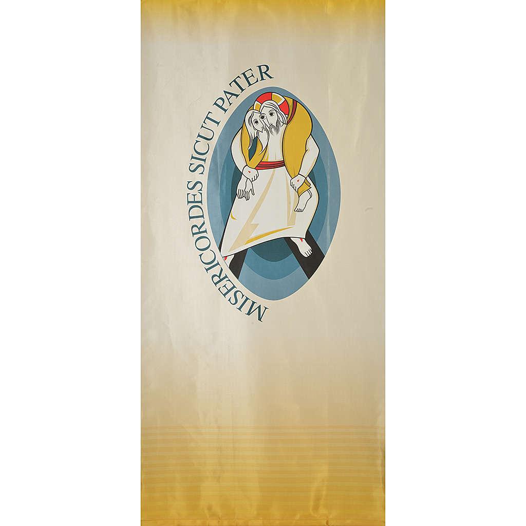 STOCK Logo Jubileo de la Misericordia sobre tejido 135x300 cm estampa LATÍN 3