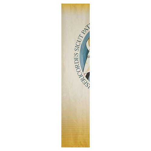 STOCK Logo Jubileo de la Misericordia sobre tejido 135x300 cm estampa LATÍN 2