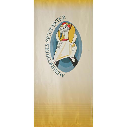 STOCK Logo Jubileo de la Misericordia sobre tejido 135x300 cm estampa LATÍN 1
