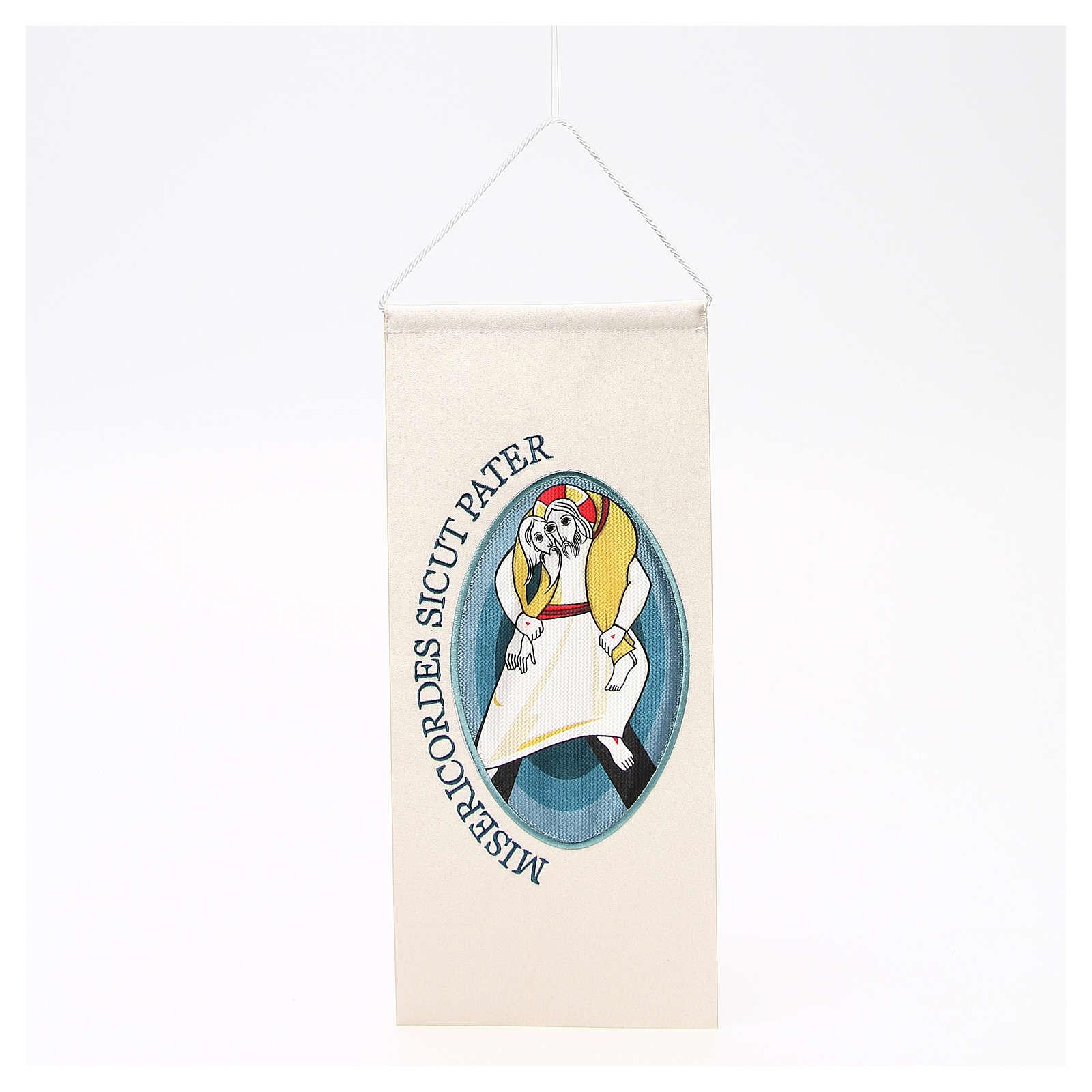 STOCK Wimpel mit maschinengesticktem Logo zum Jubiläum der Barmherzigkeit 18x40 cm 3