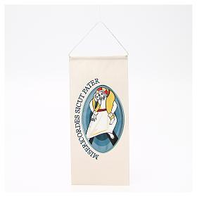 Wandteppiche: STOCK Wimpel mit maschinengesticktem Logo zum Jubiläum der Barmherzigkeit 18x40 cm