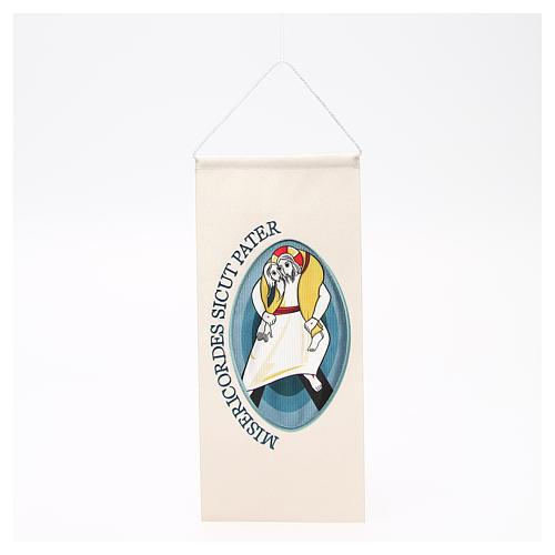 STOCK Wimpel mit maschinengesticktem Logo zum Jubiläum der Barmherzigkeit 18x40 cm 1