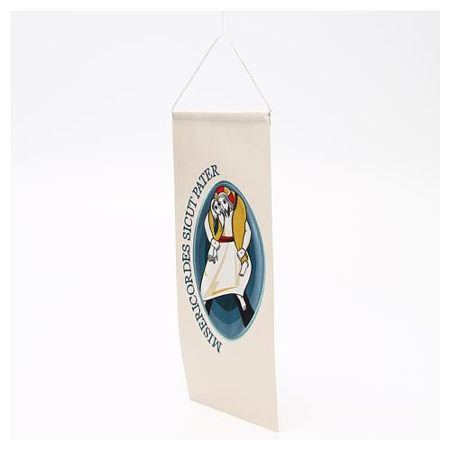 STOCK Wimpel mit maschinengesticktem Logo zum Jubiläum der Barmherzigkeit 18x40 cm 2