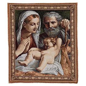 Arazzo Sacra Famiglia del Carracci 41x34 cm s1