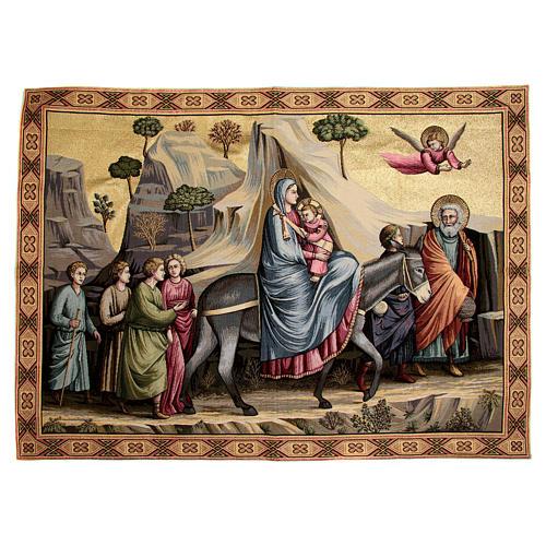 Arazzo ispirato alla Fuga in Egitto di Giotto 90x130 cm 1