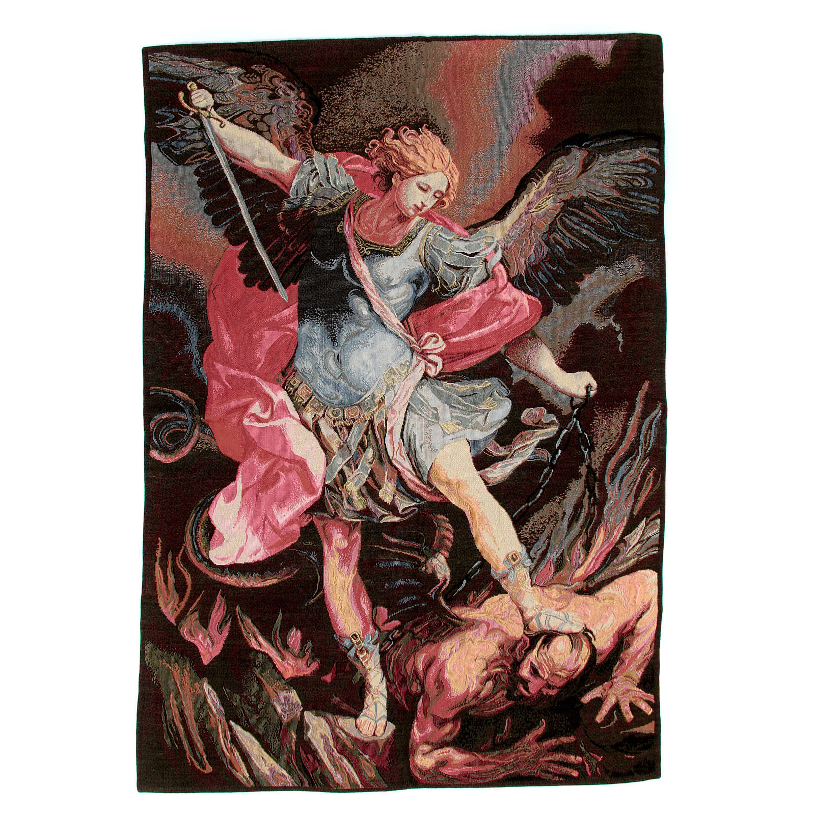 Tapestry inspired by Guido Reni's St. Michael Archangel 90x65cm 3