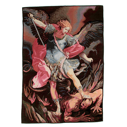 Tapestry inspired by Guido Reni's St. Michael Archangel 90x65cm 1