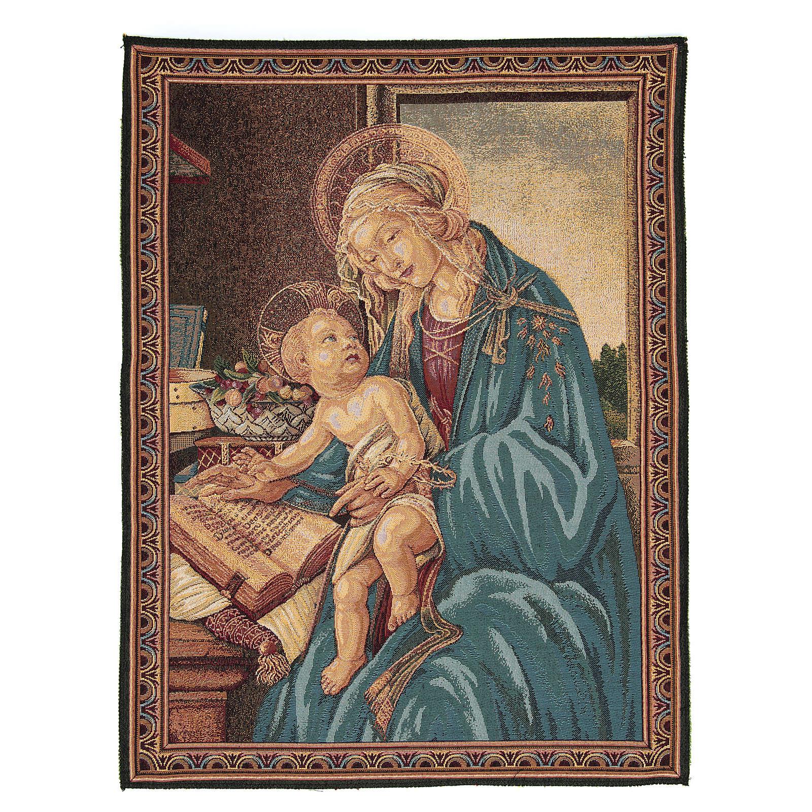 Arazzo ispirato dalla Madonna Del Libro di Sandro Botticelli 65x50 cm 3