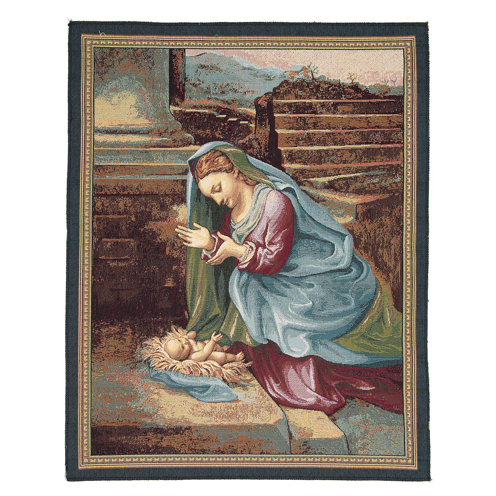 Arazzo Madonna che adora il Bambino del Correggio 65x50 cm 3