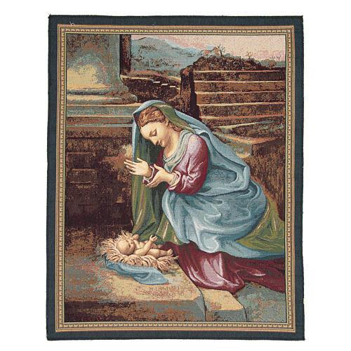 Arazzo Madonna che adora il Bambino del Correggio 65x50 cm 1