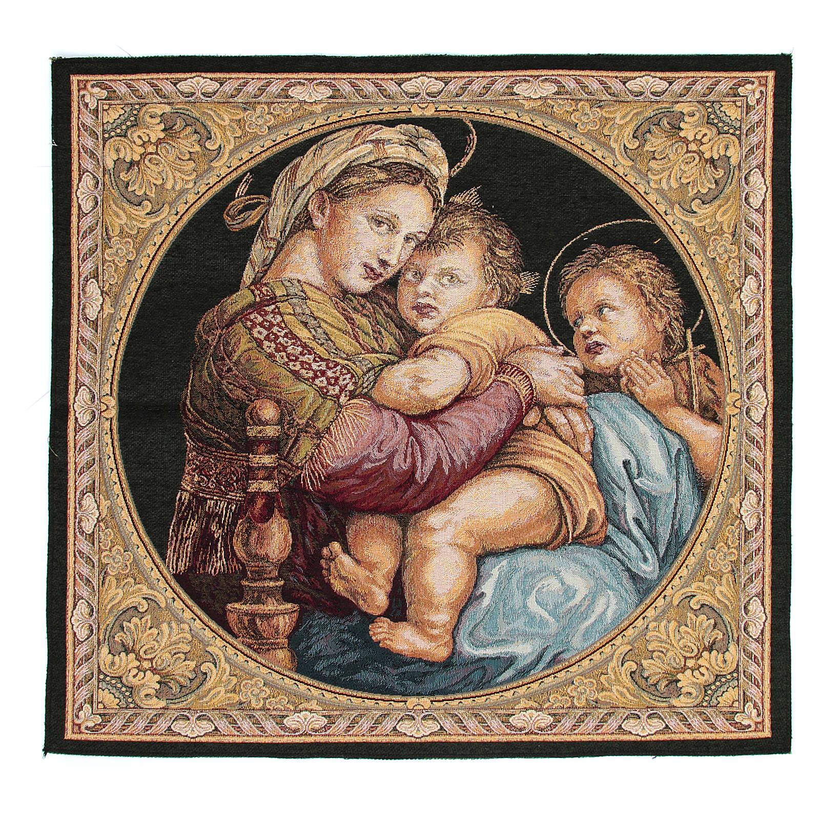 Arazzo Madonna della Seggiola di Raffaello Sanzio 65x65 cm 3