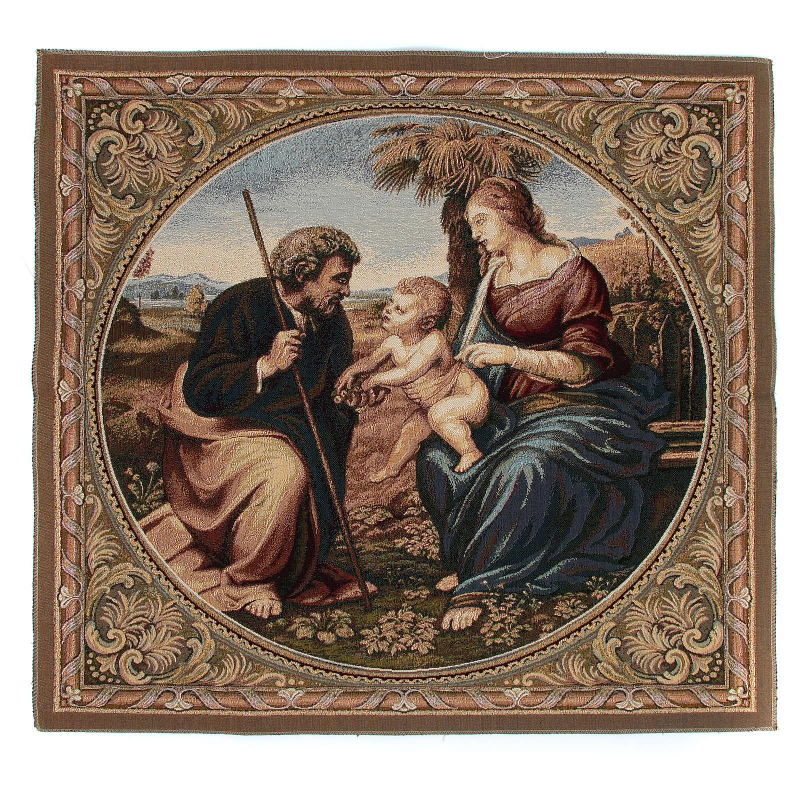 Arazzo ispirato alla Sacra Famiglia con Palma di Raffaello Sanzio cm 65x65 3