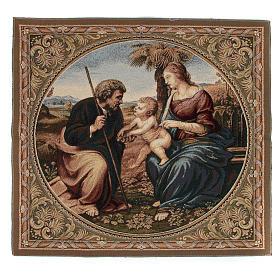 Arazzo ispirato alla Sacra Famiglia con Palma di Raffaello Sanzio cm 65x65 s1