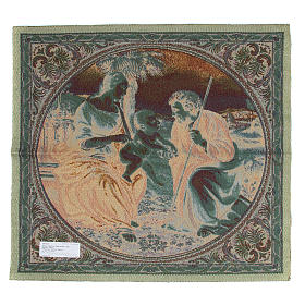 Arazzo ispirato alla Sacra Famiglia con Palma di Raffaello Sanzio cm 65x65 s2