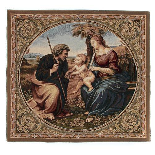 Arazzo ispirato alla Sacra Famiglia con Palma di Raffaello Sanzio cm 65x65 1