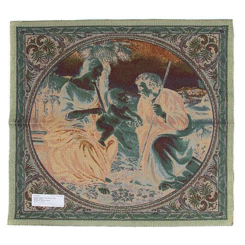 Arazzo ispirato alla Sacra Famiglia con Palma di Raffaello Sanzio cm 65x65 2