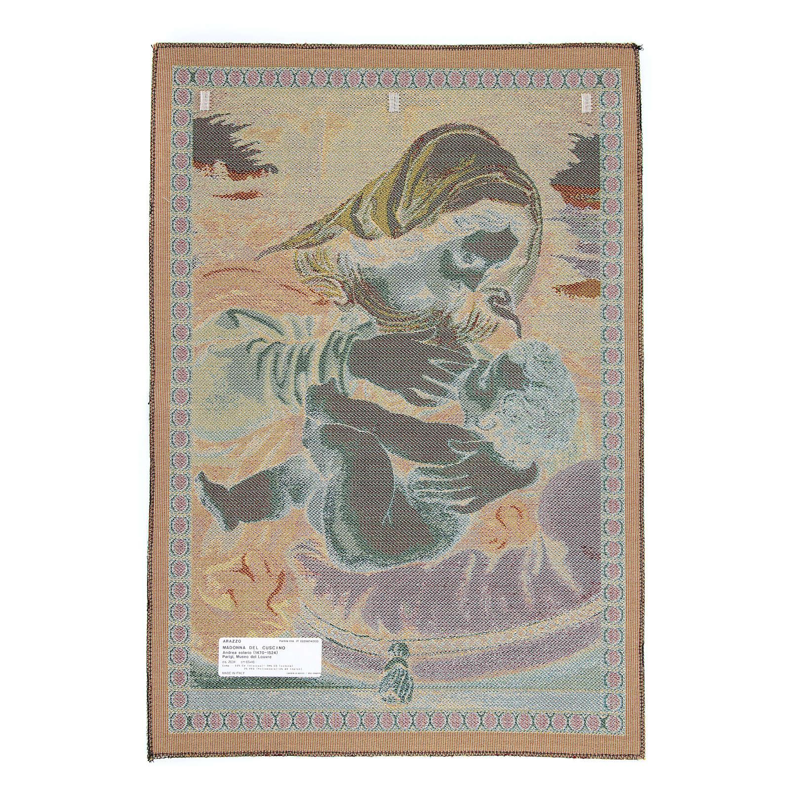 Arazzo Madonna del Cuscino di Andrea Solario cm 65x45 3