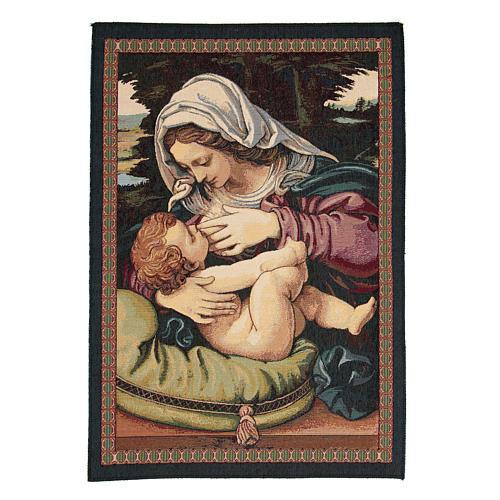 Arazzo Madonna del Cuscino di Andrea Solario cm 65x45 1