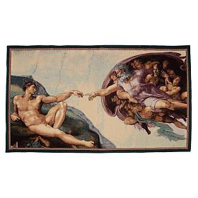 Tapeçaria Criação do Homem afresco de Michelangelo 65x125 cm s1