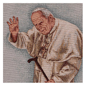 Arazzo Papa Giovanni Paolo II con bastone cornice ganci 50x40 cm s2