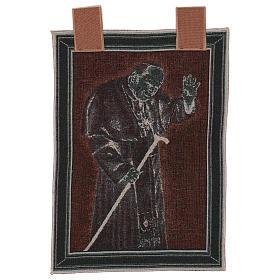 Arazzo Papa Giovanni Paolo II con bastone cornice ganci 50x40 cm s3