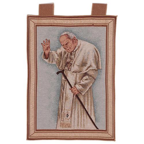 Arazzo Papa Giovanni Paolo II con bastone cornice ganci 50x40 cm 1