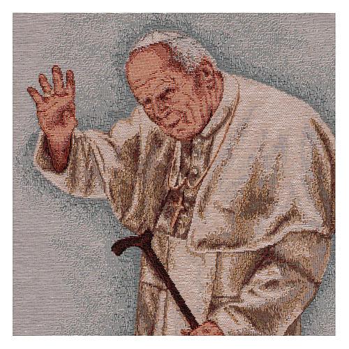 Arazzo Papa Giovanni Paolo II con bastone cornice ganci 50x40 cm 2