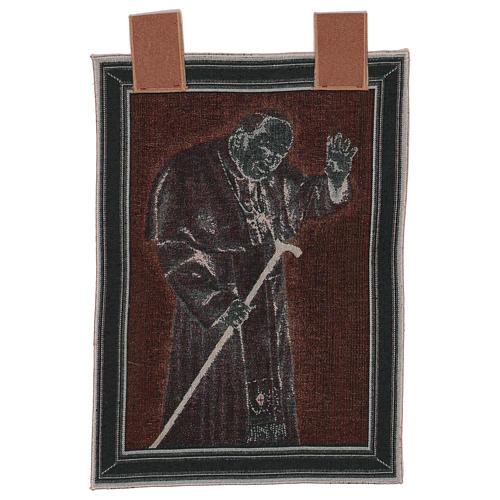 Arazzo Papa Giovanni Paolo II con bastone cornice ganci 50x40 cm 3