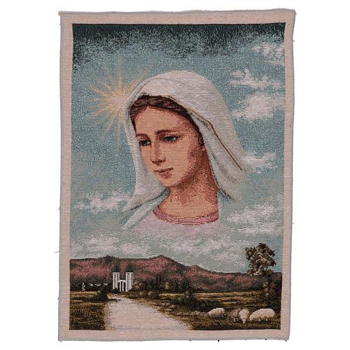 Tapiz Virgen de Medjugorje y paisaje 40x30 cm 1