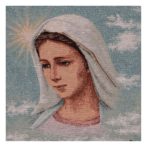 Tapiz Virgen de Medjugorje y paisaje 40x30 cm 2
