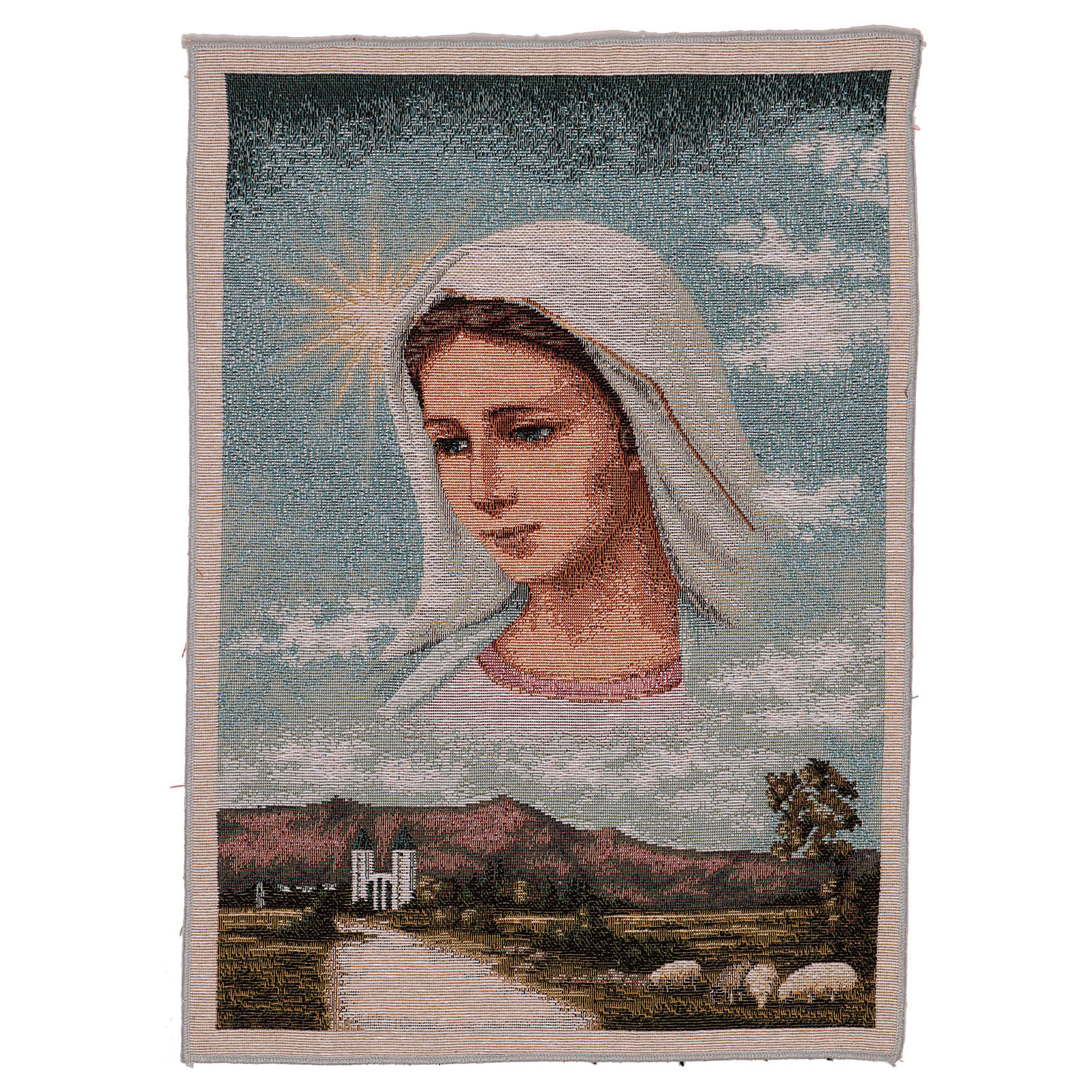 Tapisserie Notre-Dame de Medjugorje et paysage 40x30 cm 3