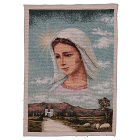 Arazzo Madonna di Medjugorje e paesaggio 40x30 cm s1