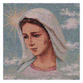 Arazzo Madonna di Medjugorje e paesaggio 40x30 cm s2