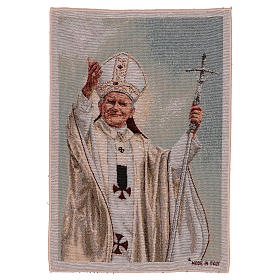 Tapiz Papa Juan Pablo II con pastoral 50x40 cm s1