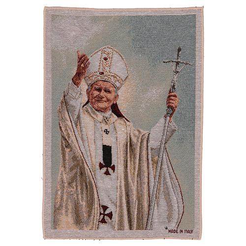 Tapiz Papa Juan Pablo II con pastoral 50x40 cm 1