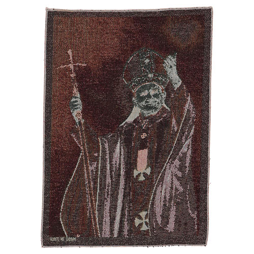 Tapiz Papa Juan Pablo II con pastoral 50x40 cm 3