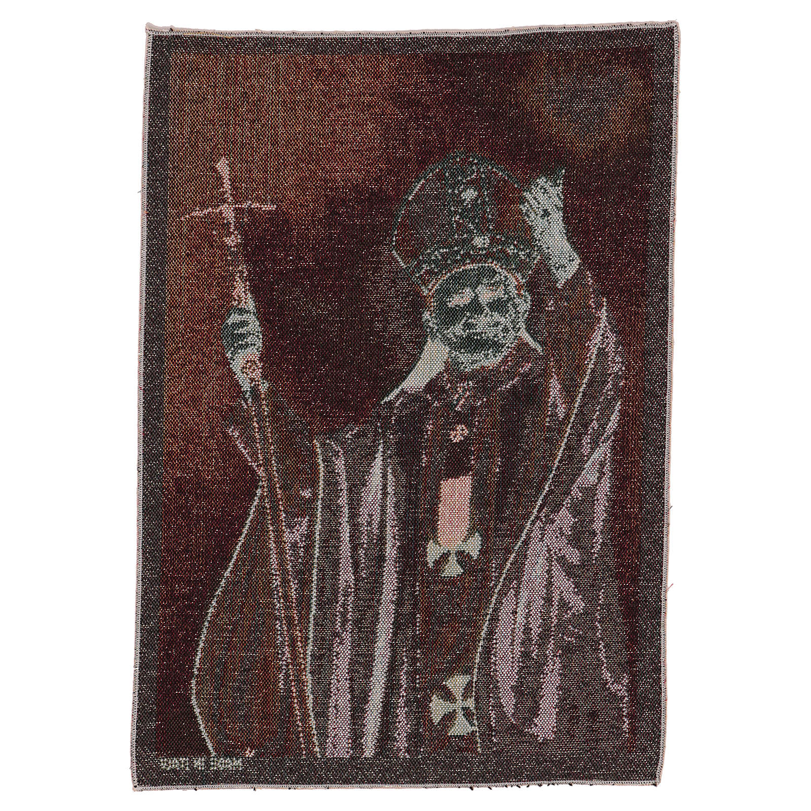 Arazzo Papa Giovanni Paolo II con pastorale 40x30 cm 3
