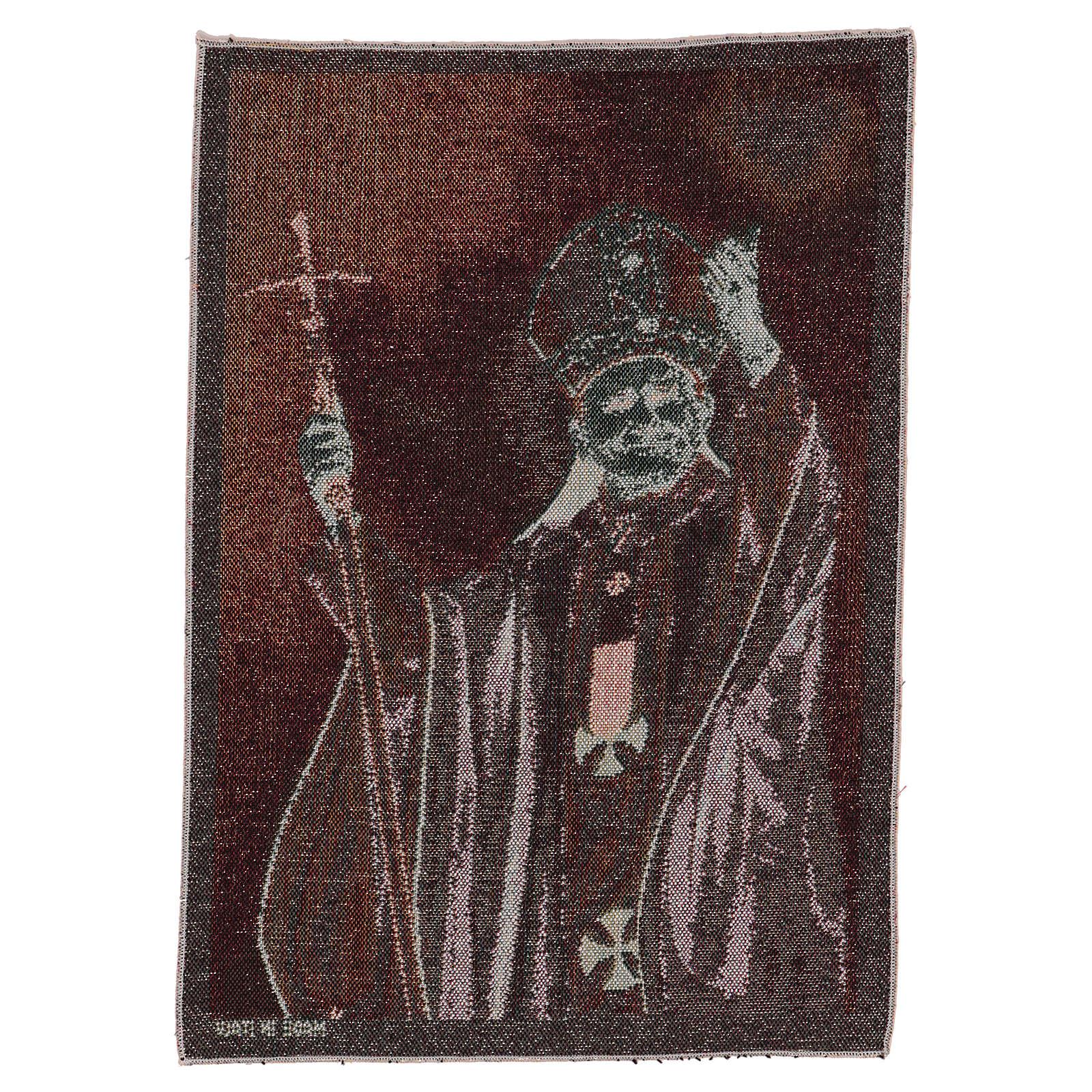 Pope John Paul II with crosier tapestry 16x12