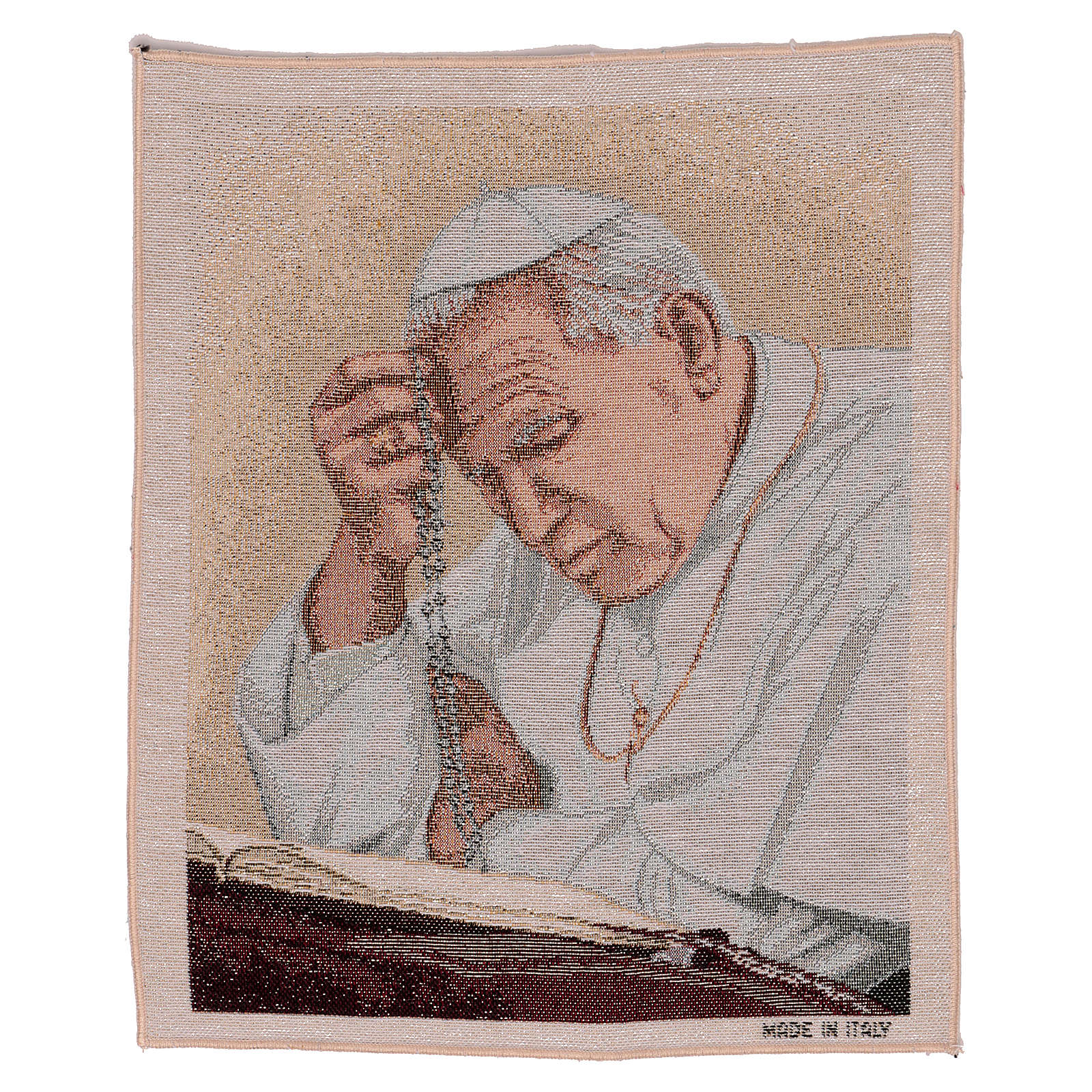 Arazzo Papa Giovanni Paolo II con Rosario 40x30 cm 3