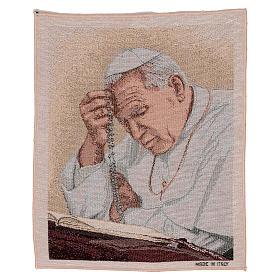 Arazzo Papa Giovanni Paolo II con Rosario 40x30 cm s1