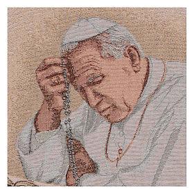 Arazzo Papa Giovanni Paolo II con Rosario 40x30 cm s2