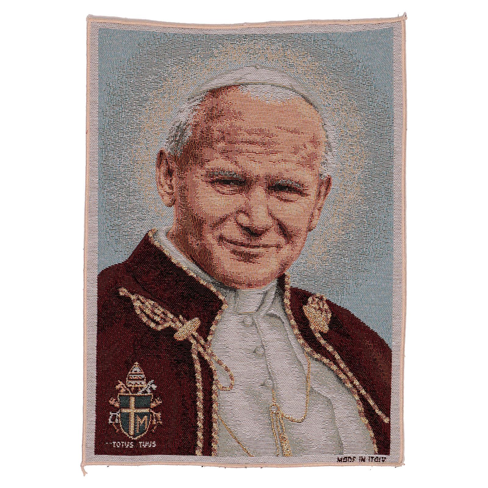 Tapiz Papa Juan Pablo II con Blasón 40x30 cm 3